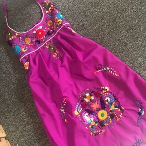 Magenta Mexican Embroidered Halter Dress
